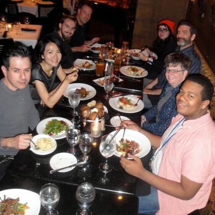 Faculty & student dinner with Victo. Pictured clockwise, from left: Hector Casanova, Victo Ngai, Kristopher Martin, John Ferry, Kelsey Wroten, David Terrill, Maura Cluthe and Coleman Stampley. Photo by department chair Steve Mayse.