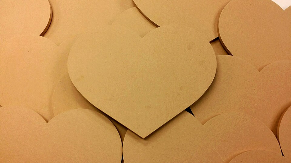 The MDF Board hearts were cut by local shop Sign Connection