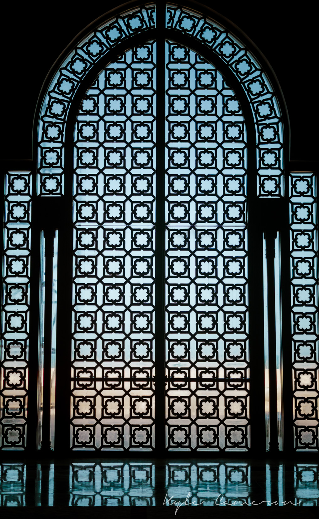 This is one of the doors in the largest mosque in Africa and the 7th largest in the world. It's the only mosque in Morocco that non-Muslims are allowed into (or maybe one of two or something like that). It's rather impressive, and quite expensive.