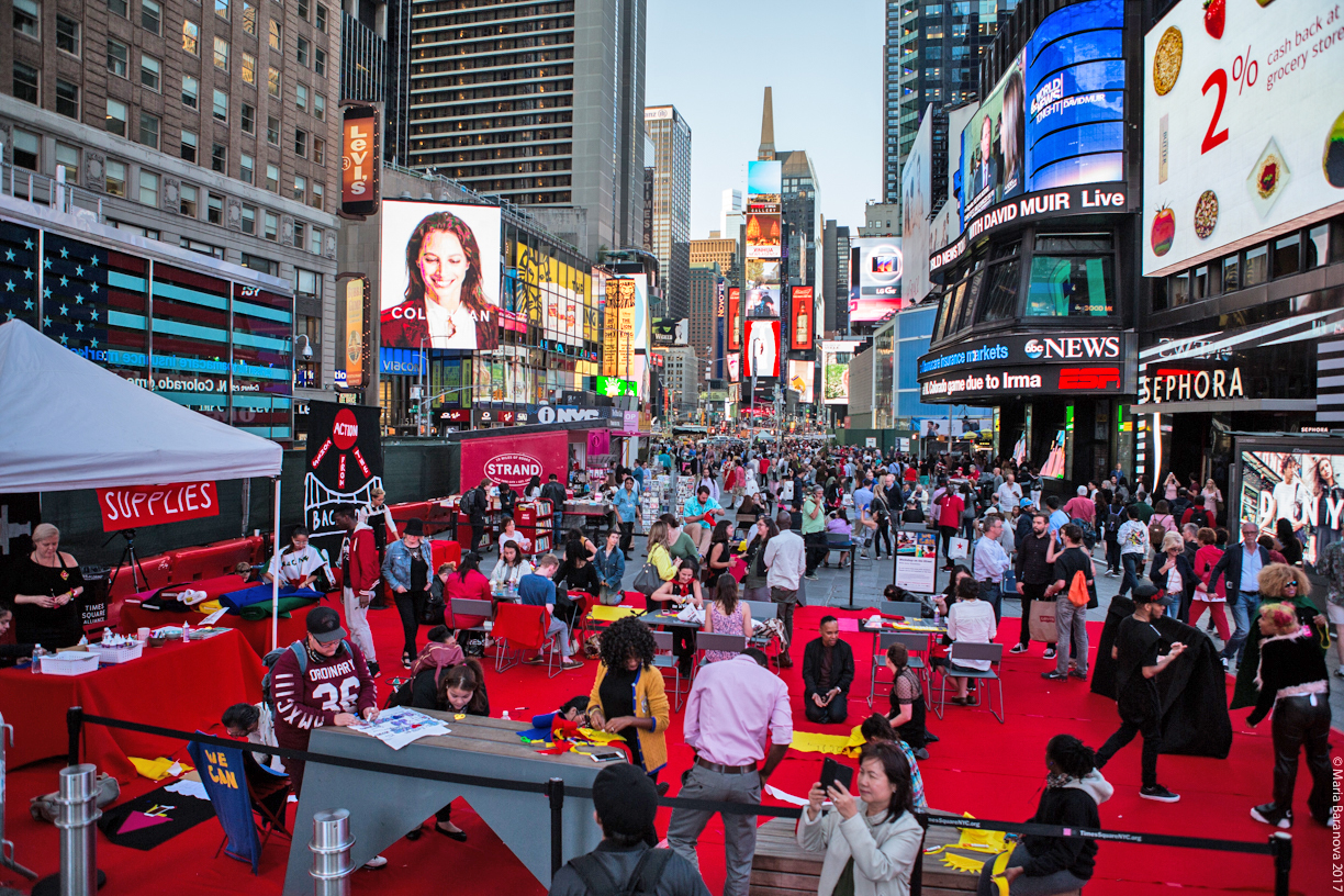 Workshop on the Street  in Times Square before Labor Day on Sept 7, 2017.