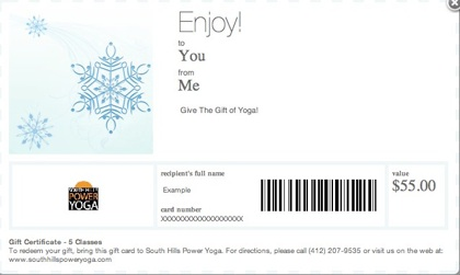graphic regarding Printable Gift Card referred to as Printable Reward Certificates South Hills Electrical power Yoga