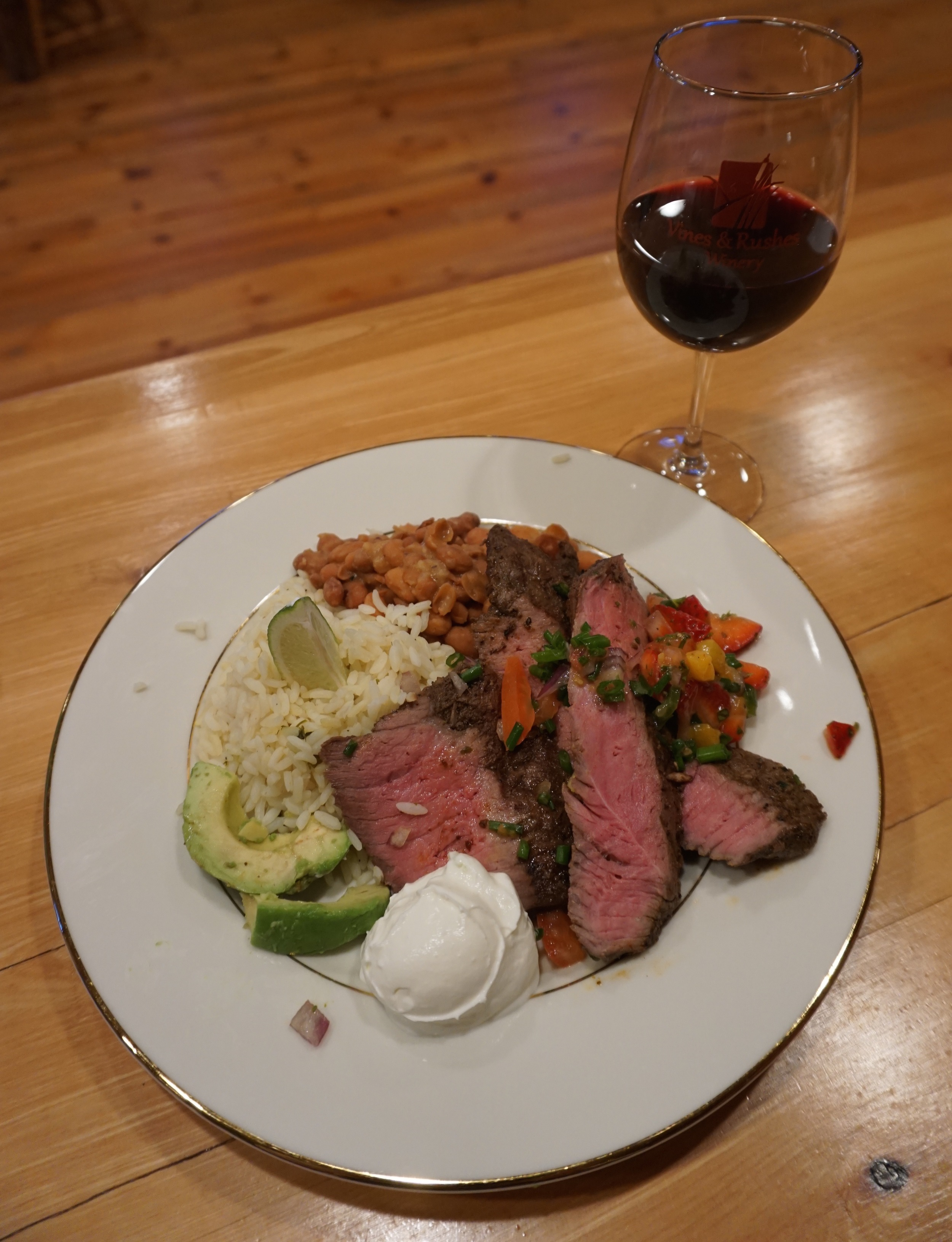 Here is an example of pairing from our May dinner featuring carne asada with Sabrevois!