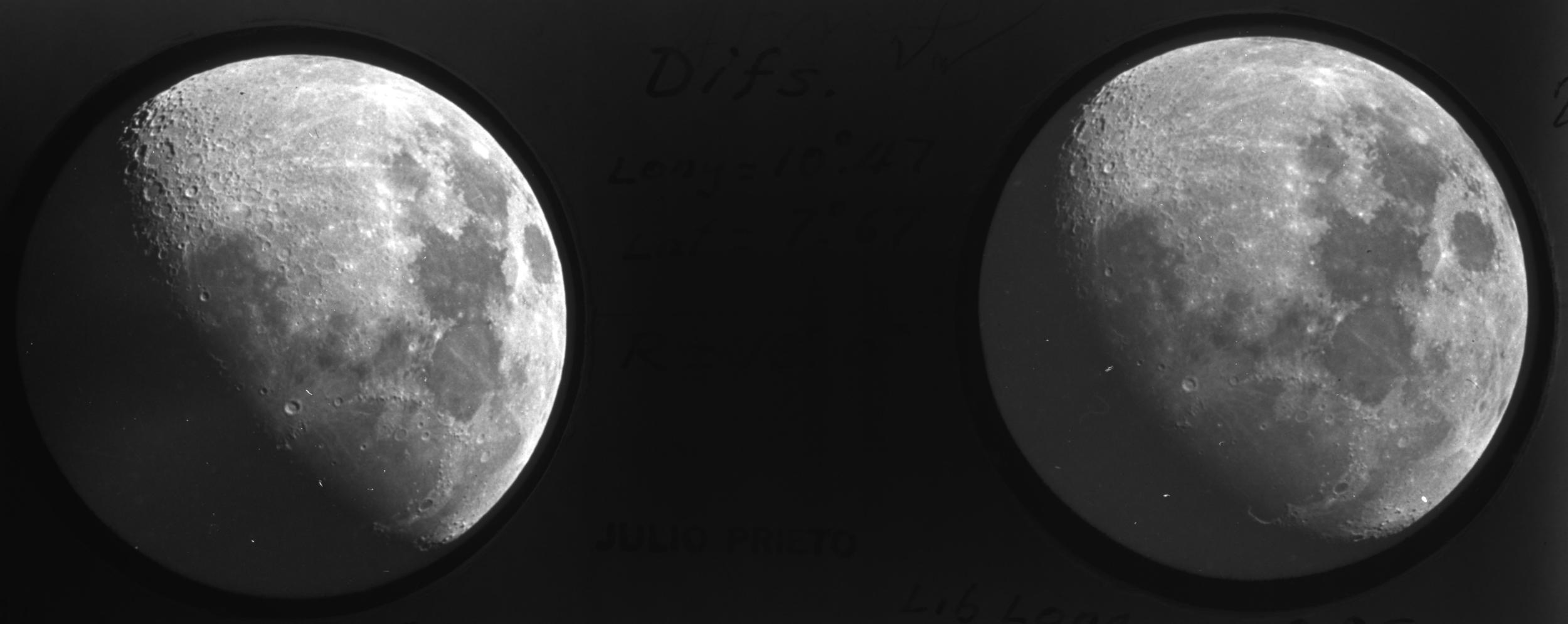 On the slide are two images of the moon that combine to create a nicely stereo image.