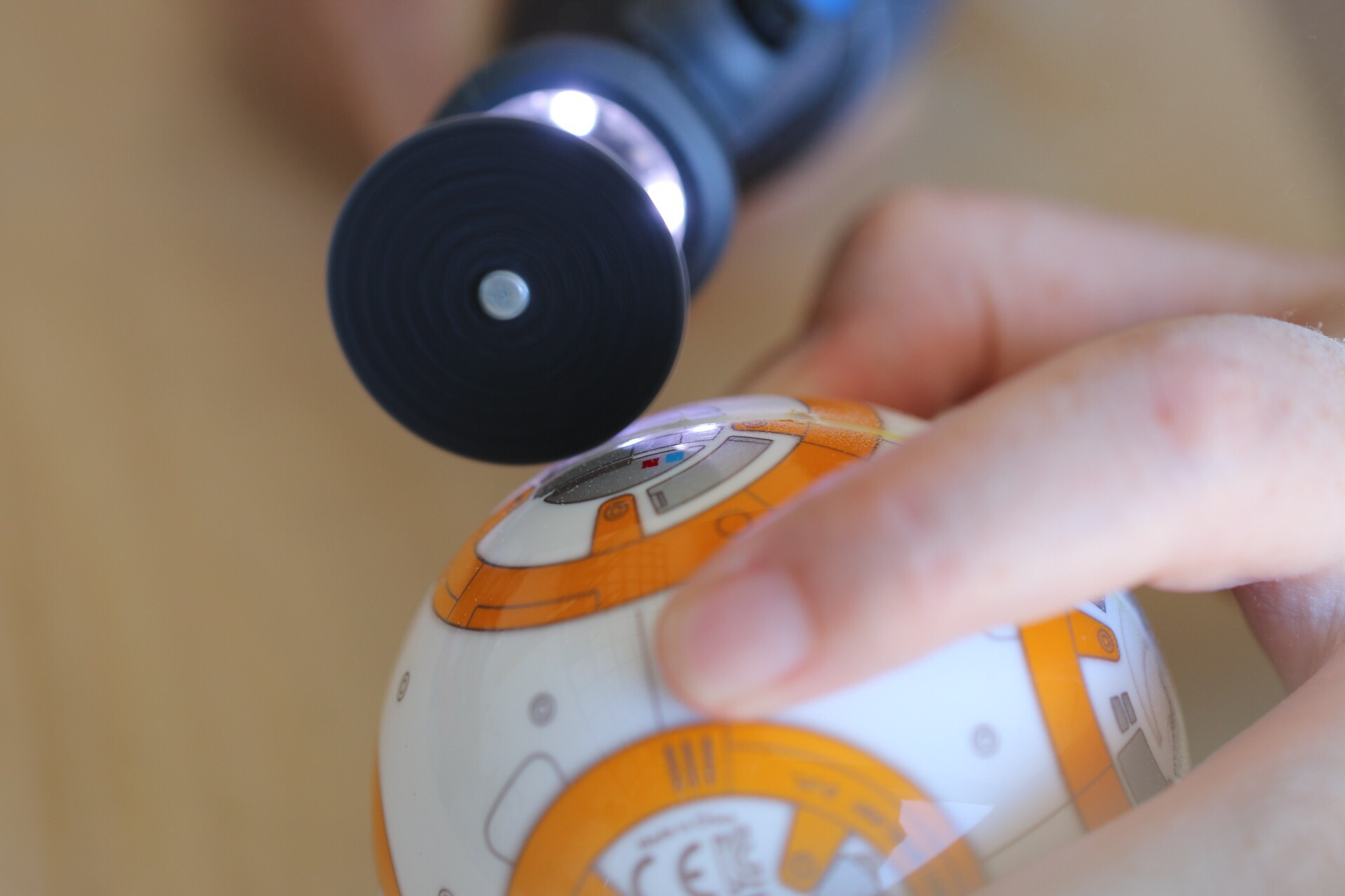 Figure 1-2:Cutting through the BB-8 outer shell required a saw or cutting tool.