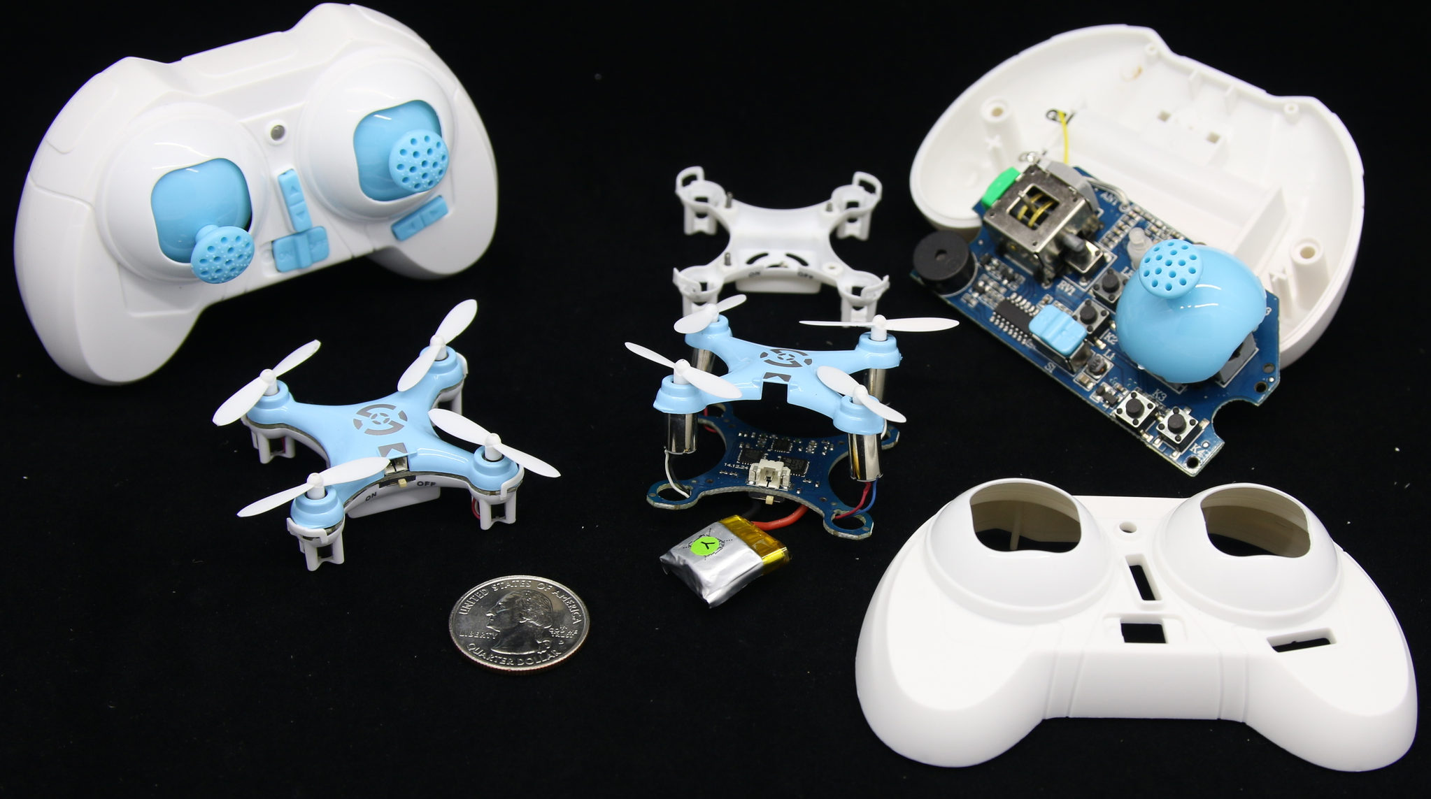 Figure 1-5: Cheerson CX-10C miniature quadcopter in before and after states.