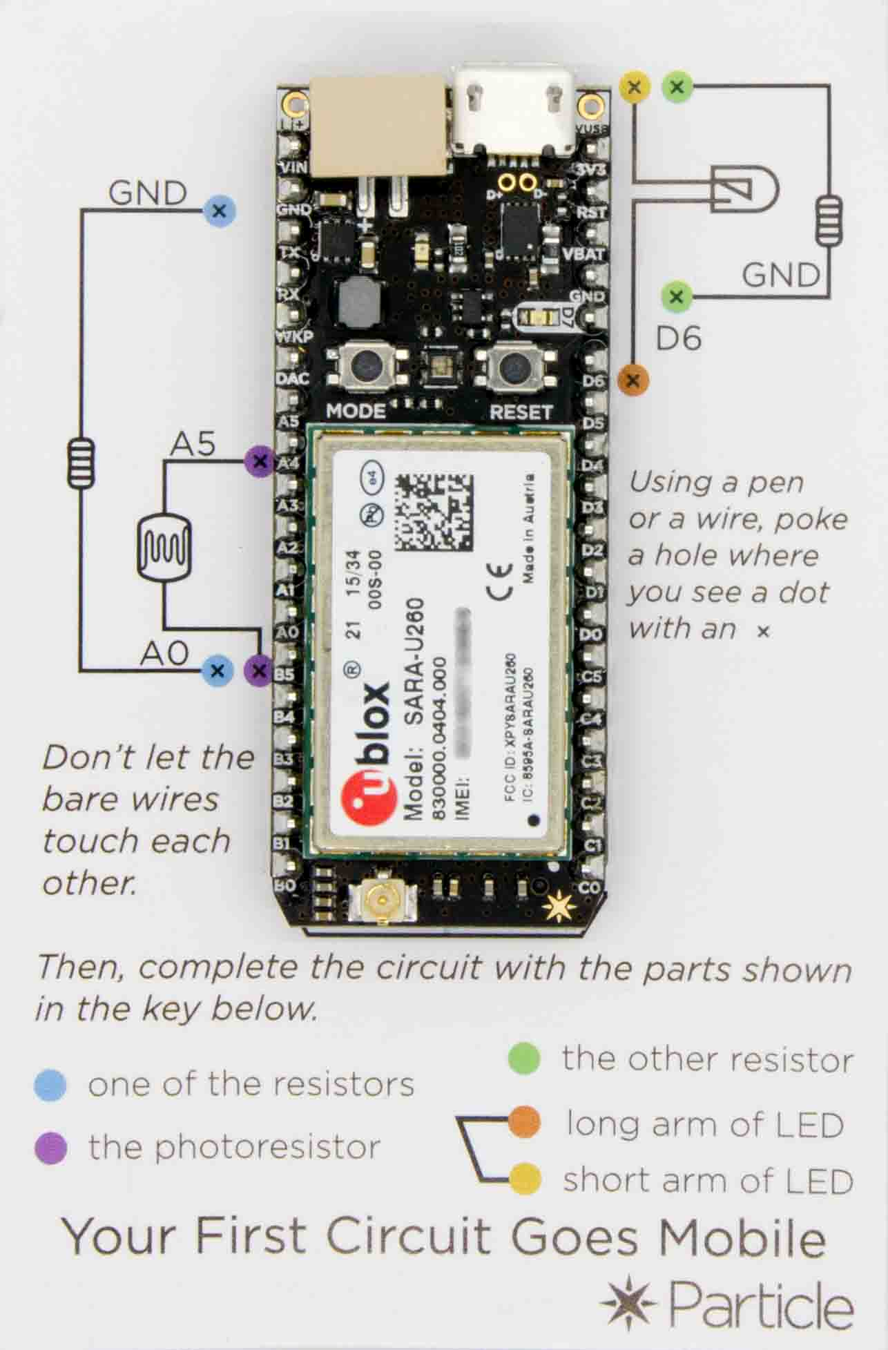 """The Electron, as shipped. The included """"getting started"""" diagram is on top of the breadboard."""