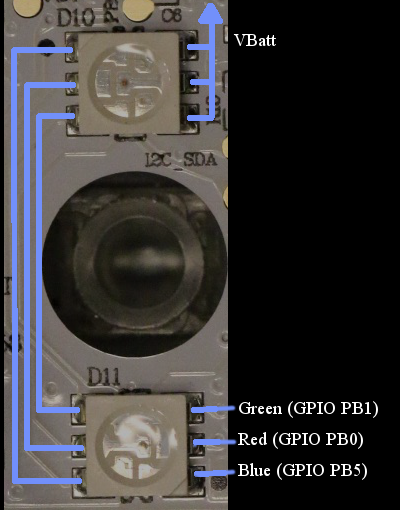 Figure 2-6: BB-8's RGB LEDs are connected in series with a transistor, then to the microprocessor
