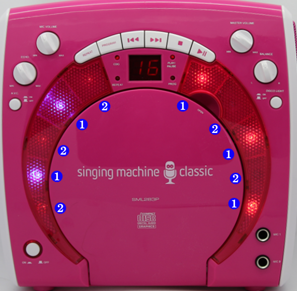 Figure 2-7: The karaoke's front with the LEDs marked according to when they light up.