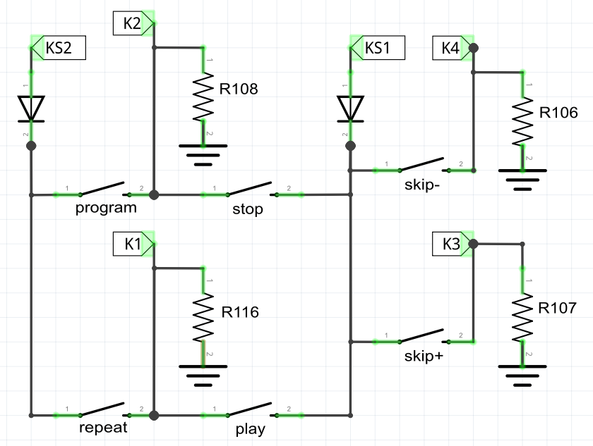 Figure 3-8: Schematic of the karaoke's momentary buttons.