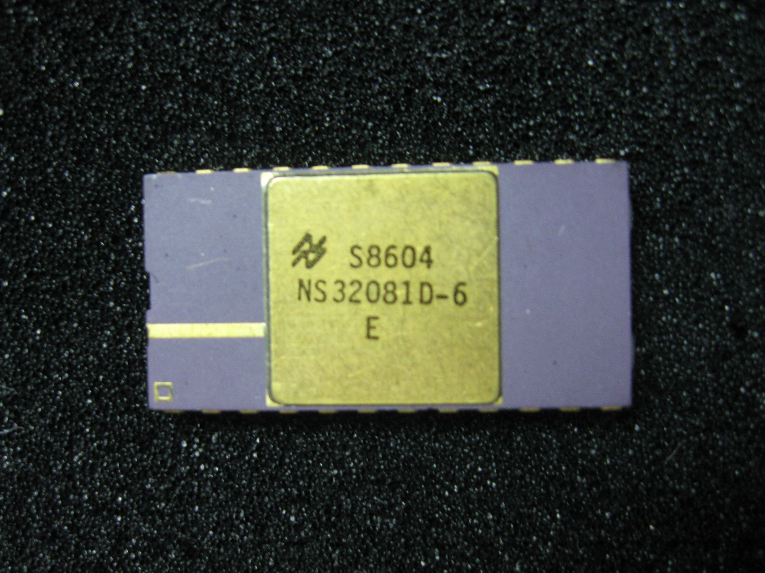 The floating point coprocessor chip for the National Semiconductor NS32032 processor circa 1986.