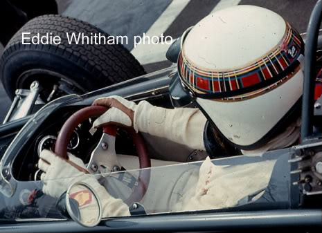 Jackie Stewart in the cockpit of his BRM race car. Photo by Eddie Whitham. Now, zoom in and look at the steering wheel. There is a wrench taped to the spokes of the wheel. Jackie Stewart was once stuck in his wrecked car for over 25 minutes, with fuel pouring in, trapped by the steering wheel. He vowed to never let that happen again and gave himself a wrench to remove the wheel. He went on to advocate for increased driver safety including safety belts, proper helmets, crash barriers, and medical facilities and fire crews at the tracks. In a time where the Grand Prix teams were losing one driver per month, Jackie spoke up and took a lot of heat from the car and track owners, he was tired of going to the funerals of his friends.