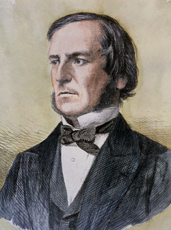 George Boole 1815-1864. The founder of the algebra of logic, or boolean logic.  This work is in the   public domain  in its country of origin and other countries and areas where the  copyright term is the author's  life plus 100 years or less .