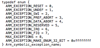 The RTEMS ARM BSP exception table as an enum with size forcing entry.