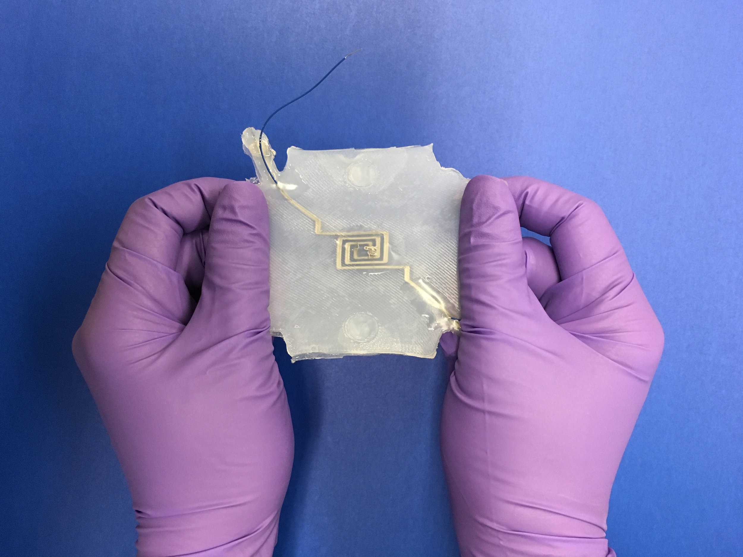 One of Kristen's stretchy strain sensor, not MEMS (so you can see it)