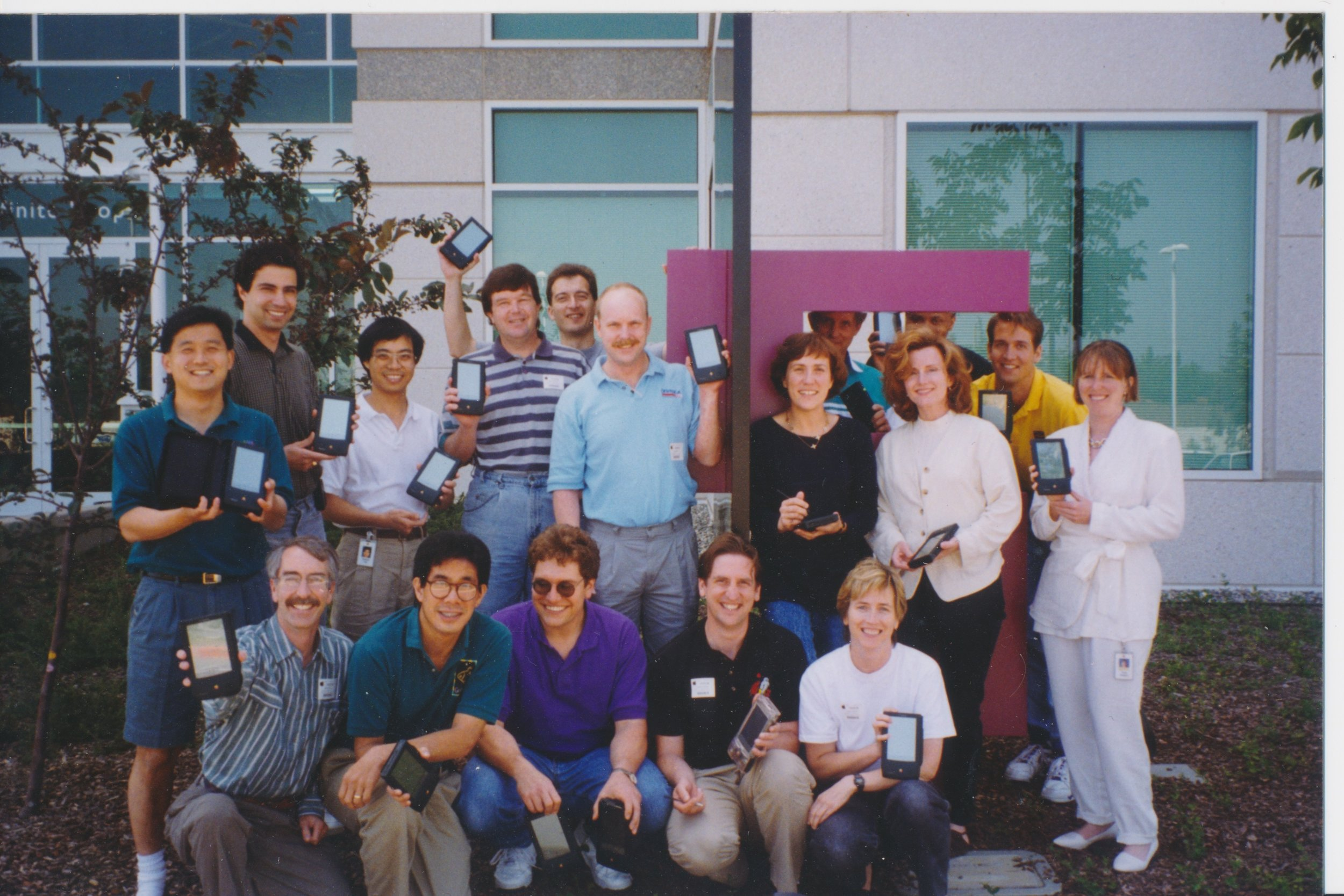 Newton Programming Essentials 1994. I'm second from the right in the front row (with the clear case 110). The person behind me is the instructor, Kent Beck of Extreme Programming fame.