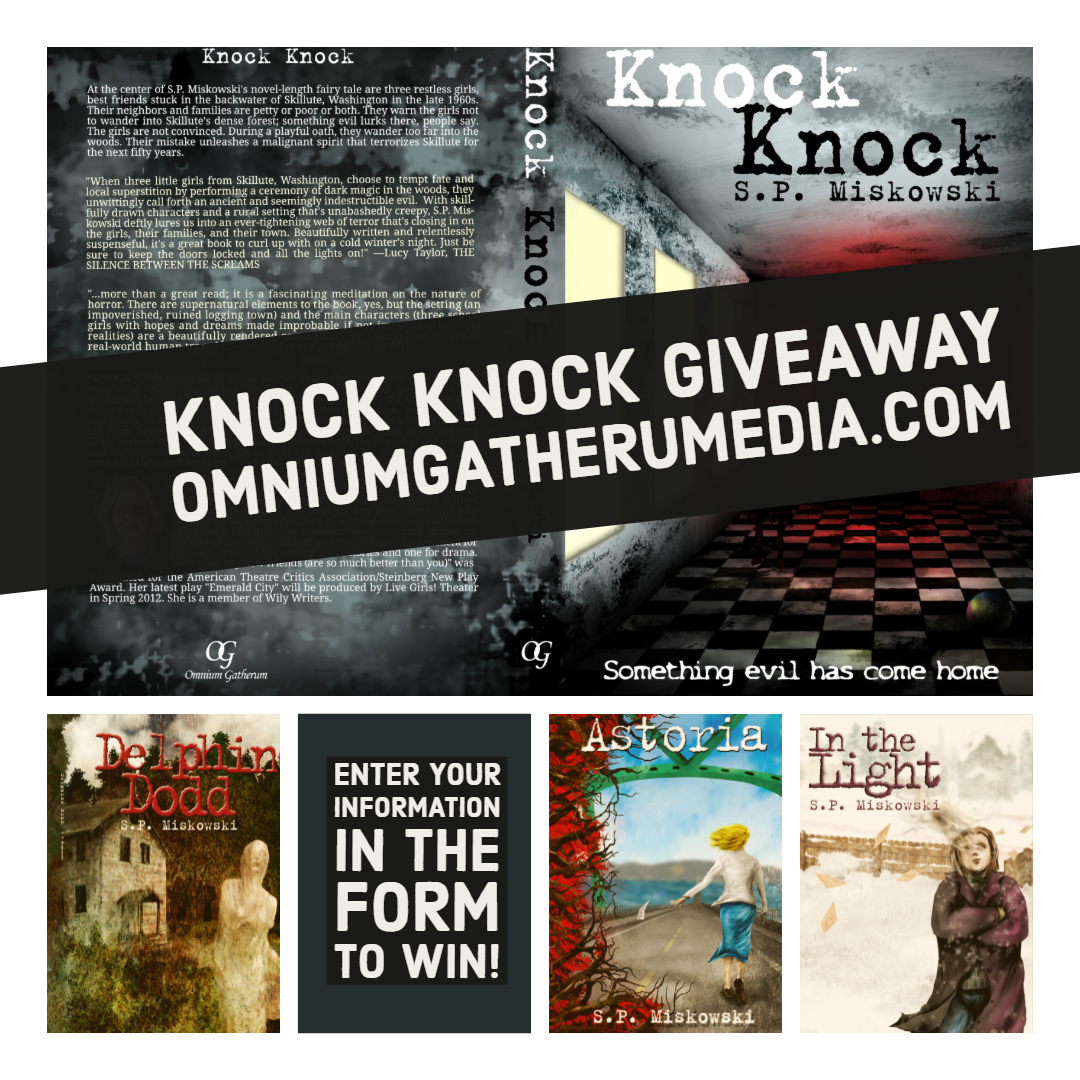 - Were giving away three paperback copies of Knock Knock by S.P. Miskowski. Add your information to the form below for a chance to win!US and UK only. Prizes awarded by random drawing Aug 25, 2019. One entry per person.