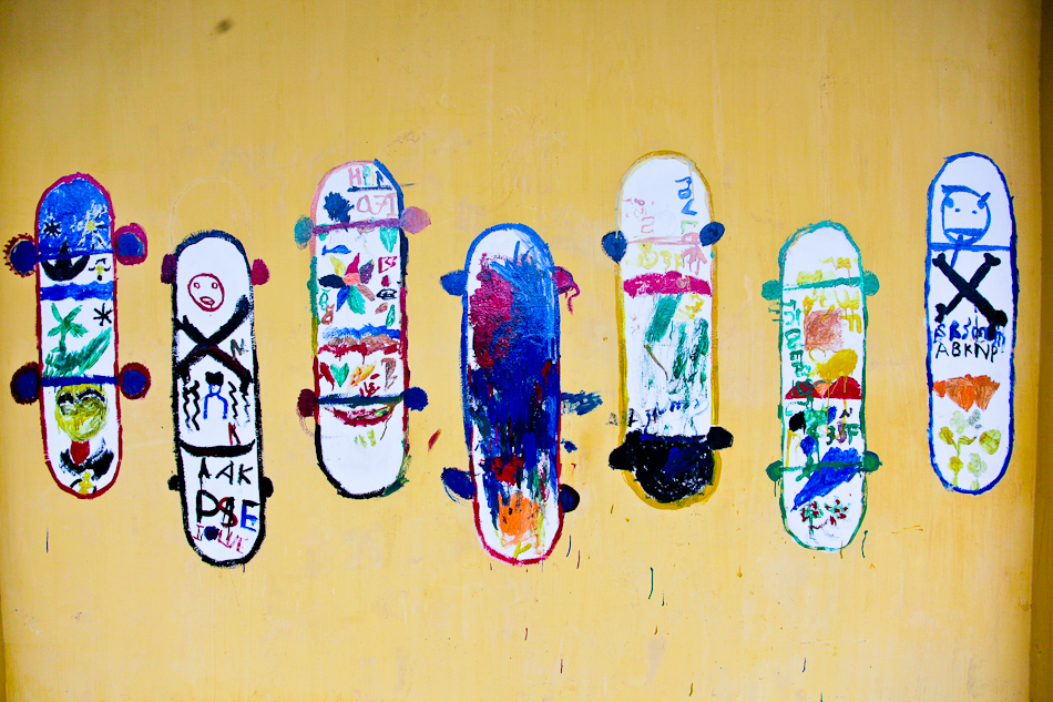 A skateboard mural at a park run by Skateistan Cambodia, an organization that works with at-risk street kids.