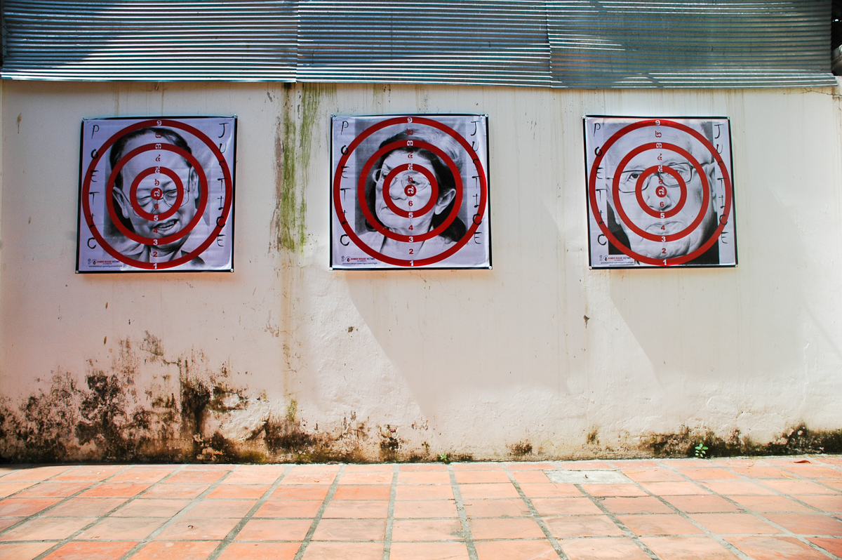 These dartboards feature photos of Ieng Sary, the former Khmer Rouge foreign minister, Ieng Thirith, the former social affairs minister who has been declared mentally unfit to stand trial, and former US secretary of state Henry Kissinger. They were created by Theary Seng, a Cambodian-American whose parents were killed by the regime.