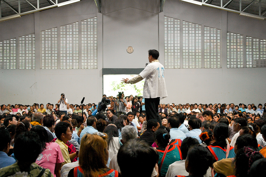 Thai Prime Minister Abhisit Vejjajiva speaks at a campaign stop near Chiang Mai, Thailand. The number 10 on his back refers to the order number in which political parties will appear on the ballot.