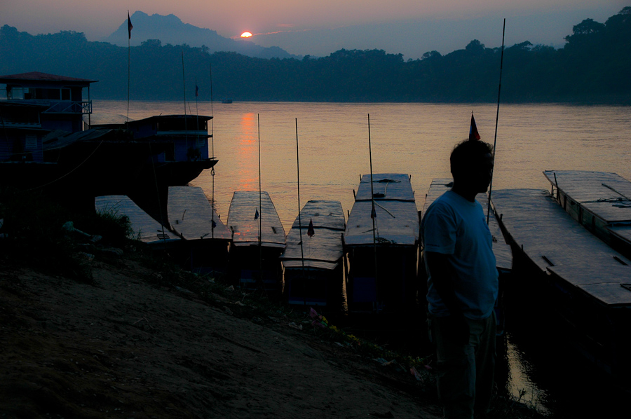 Sunset over the Mekong river in Luang Prabang, Laos.