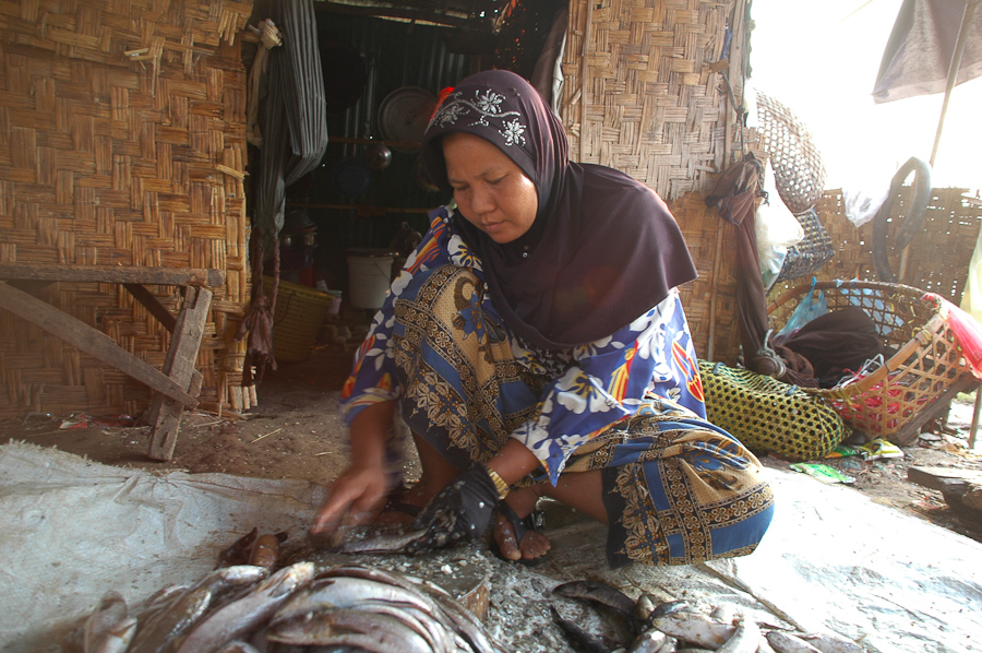 A woman scrapes the scales off fish in a village near Phnom Penh.