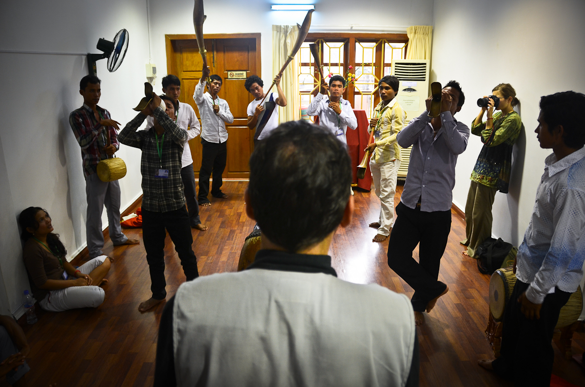 Patrick Kersalé works with musicians at the Cambodian Living Arts rehearsal studio in Phnom Penh.