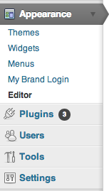 Wordpress wp-admin navigation element.