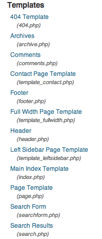 Wordpress templates navigation on the Appearance > Editor page in wp-admin.