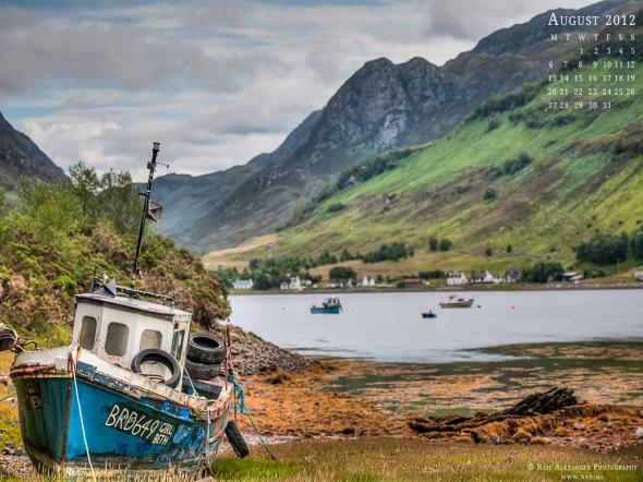 August 2012 Desktop Wallpaper 1024x768 - Loch Long, Scotland
