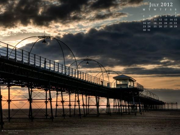 Southport pier, Lancashire at sunset - Desktop Wallpaper for July 2012