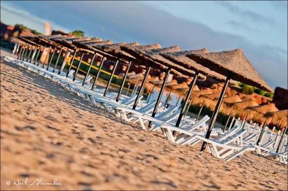 Su n loungers on the beach at Vilamoura, Portugal (Click for larger)