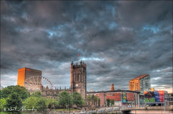 V iew over Manchester with the Cathedral in the foreground (Click for larger)