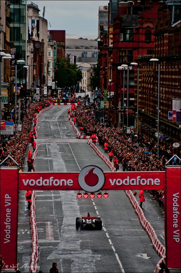 V iew down Deansgate for the Vodafone VIP event with McLaren Mercedes and Jenson Button