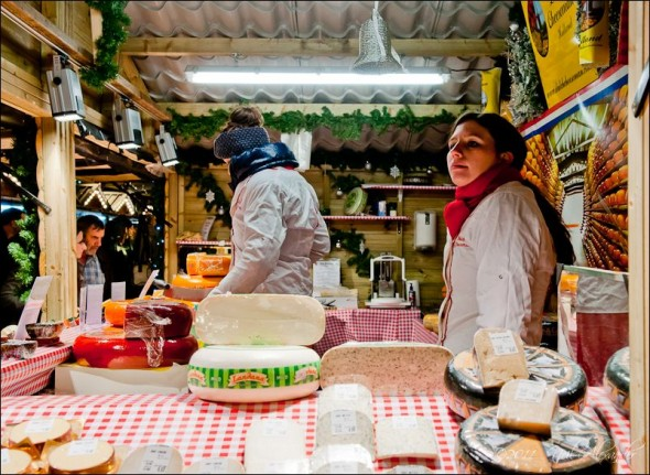 Cheese sellers at the European Christmas Markets, Manchester