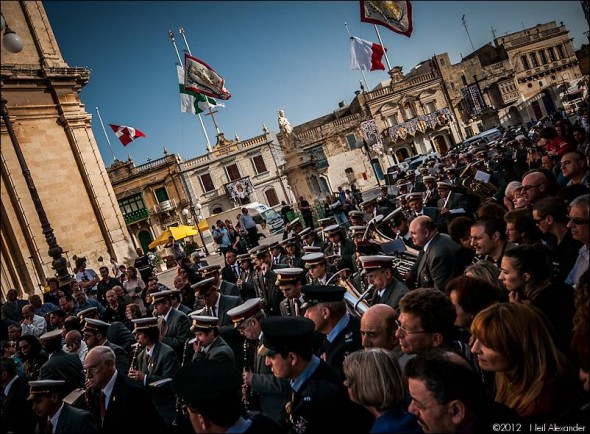 The Beland Band and crowds outside St. Catherine's Parish Church, Zejtun, Malta