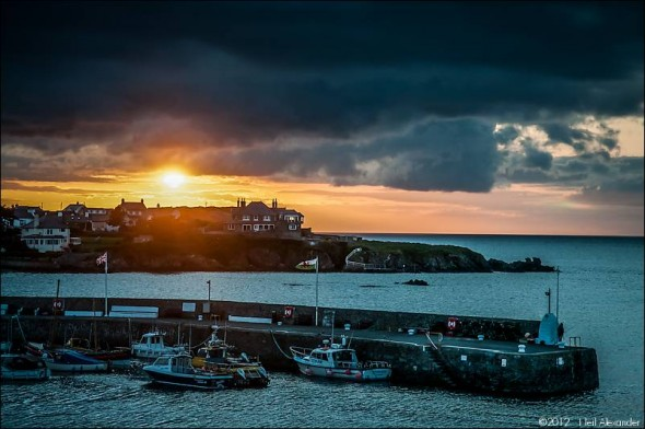 Cemaes Harbour, Anglesey at sunset - 1/60 sec f8 ISO200
