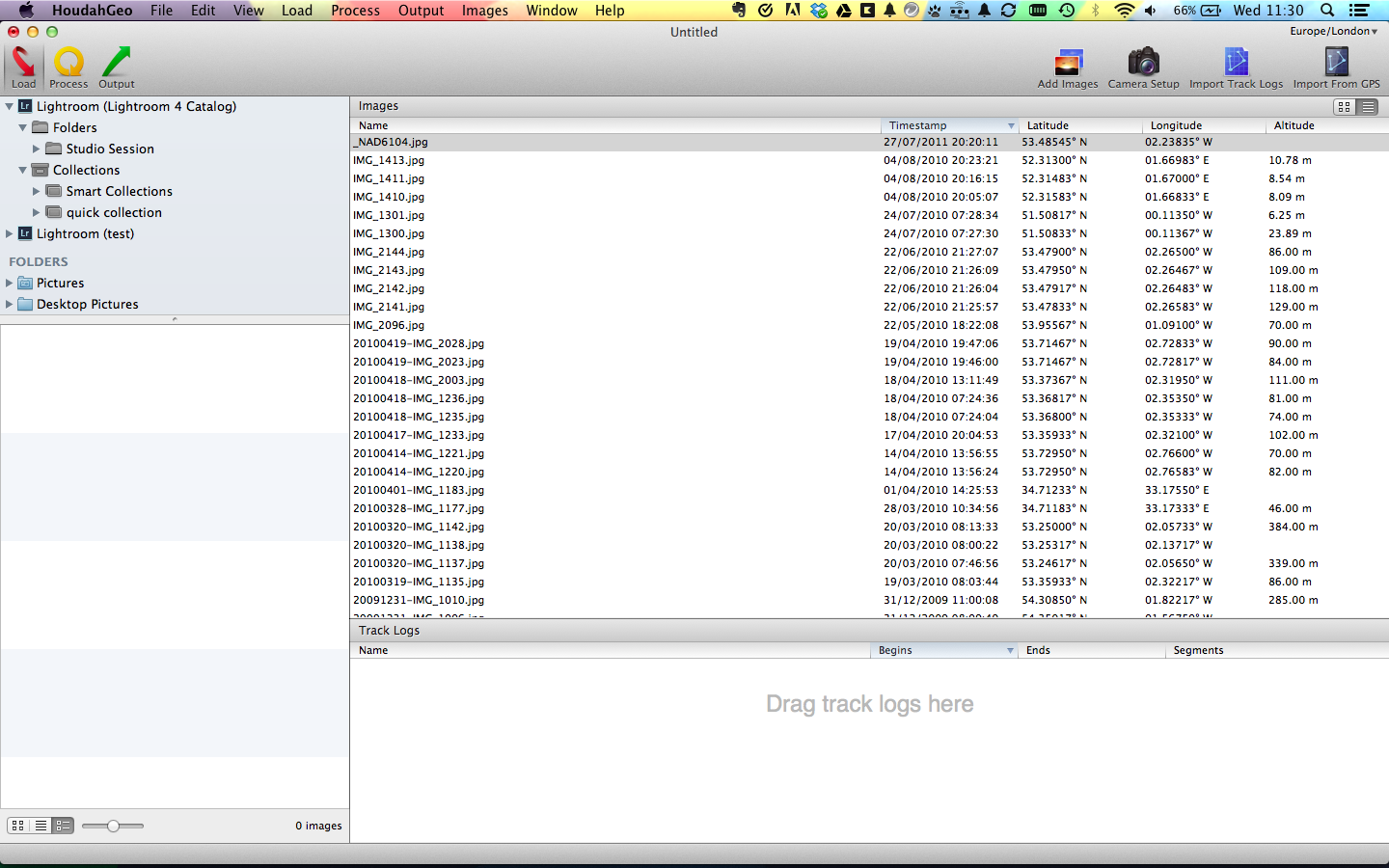 Loading HoudahGeo with images for publishing to Evernote showing GPS information