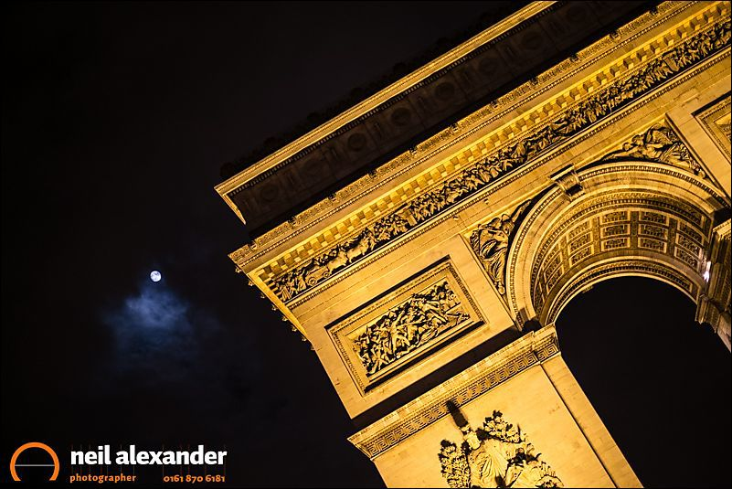 The Arc de Triomphe and the moon - this image was simply a lucky strike. The clouds just happened to part and reveal the moon as I was about to leave.
