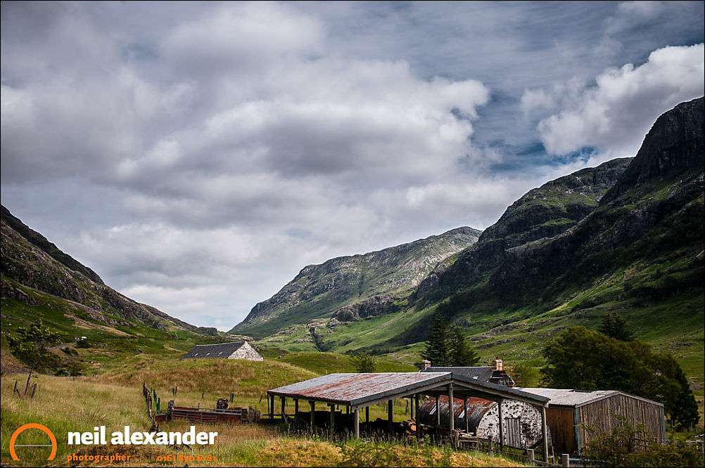 Farm buildings, Achtriochtan, Pass of Glencoe looking up to the Three Sisters