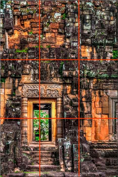 The viewer's eye is instantly drawn to the brightest part of a picture and in this image it is the doorway which I placed in the bottom left hand corner of the frame.