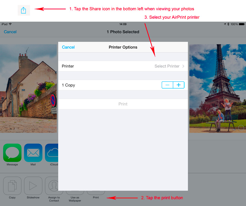 Using AirPrint to print a photograph on an iPhone or iPad