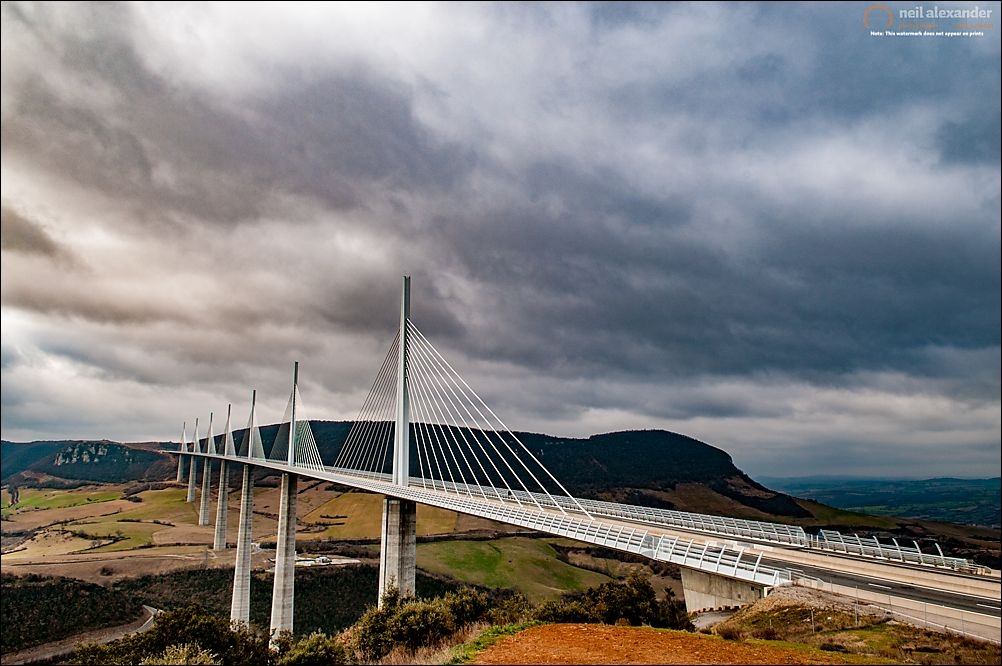 Millau viaduct on a very overcast day