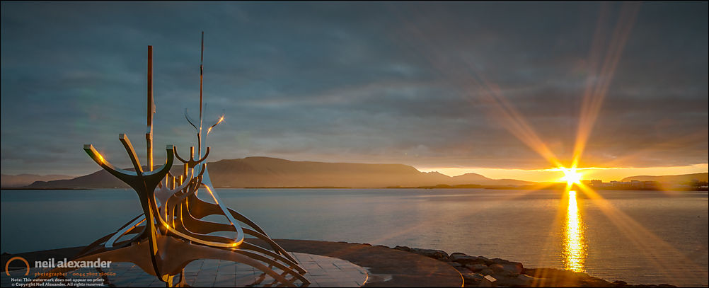 The Sun Voyager scultpure at sunrise in Rekyavik