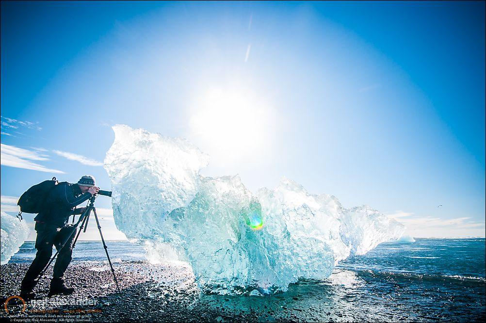 Shooting icebergs on Jokulsarlon beach