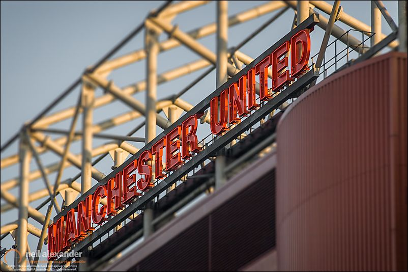 Manchester United Sign, Old Trafford Football Ground, Manchester, Uk