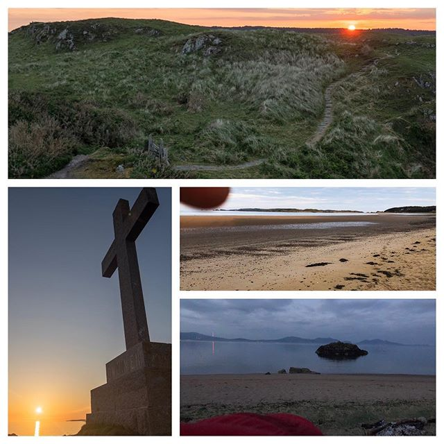 Top clockwise - just after dawn (5am), where I slept under the stars, my view at 3:58am this morning thanks to the squadron of seagulls on that little piece of rock, and one of last night's subjects - the cross of St Dwynwen, patron saint of lovers ❤️❤️❤️
