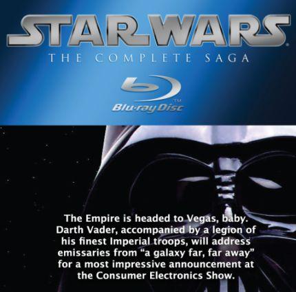 """Lucasfilm has said that there will be a special """"Star Wars"""" announcement tomorrow at  CES , delivered by Darth Vader and a phalanx of stormtroopers at the Panasonic stand.  From the invitation, it's clear that the announcement will be about """"the complete saga"""" - Episodes I through VI - coming out on Blu-ray. So far, no surprise - Lucasfilm talked this up a few months ago. The real questions are - why will this be at the Panasonic stand ? Is this going to be another """"3D Avatar""""  exclusive deal  ?  Will these be retro-3D versions  ?   And - more importantly - exactly what versions ? I'm secretly hoping for the original cuts but we all know what George Lucas thinks about those getting a release . Reluctantly, I suspect the announcement will be about the revised versions of all six films being spruced up for Blu-ray, with the 3D versions a Panasonic exclusive for a year.   Let's just hope that somewhere buried deep in the supplemental sections is the ultimate SW Easter Egg...the  """"Star Wars Holiday Special""""  !"""