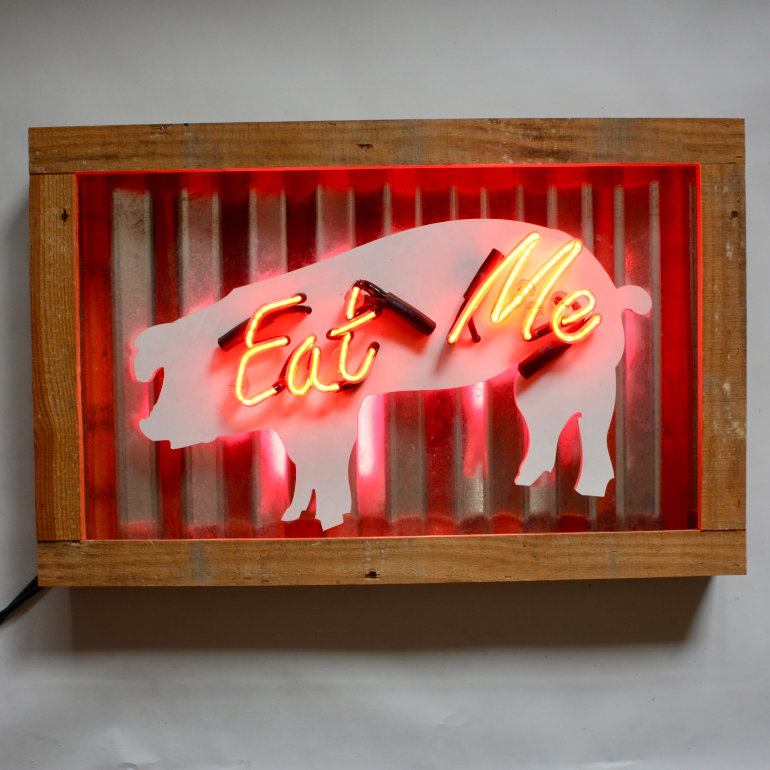 Copy of Layered Die Cut PVC Pig Shape in Metal+Wood Frame. Red Neon lettering and Pink Neon Accent under Pig - lit