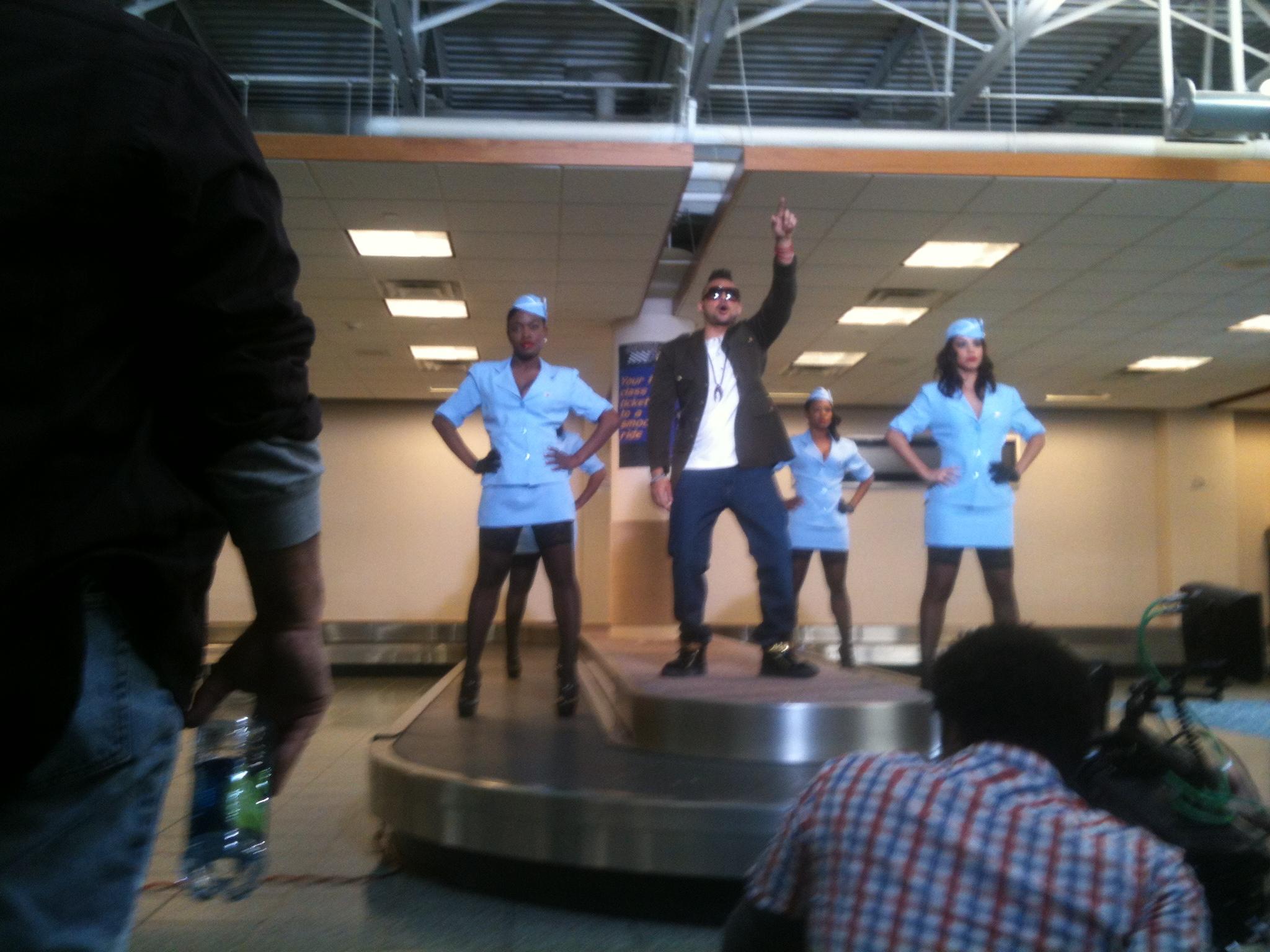 Sean Paul and flight attendants