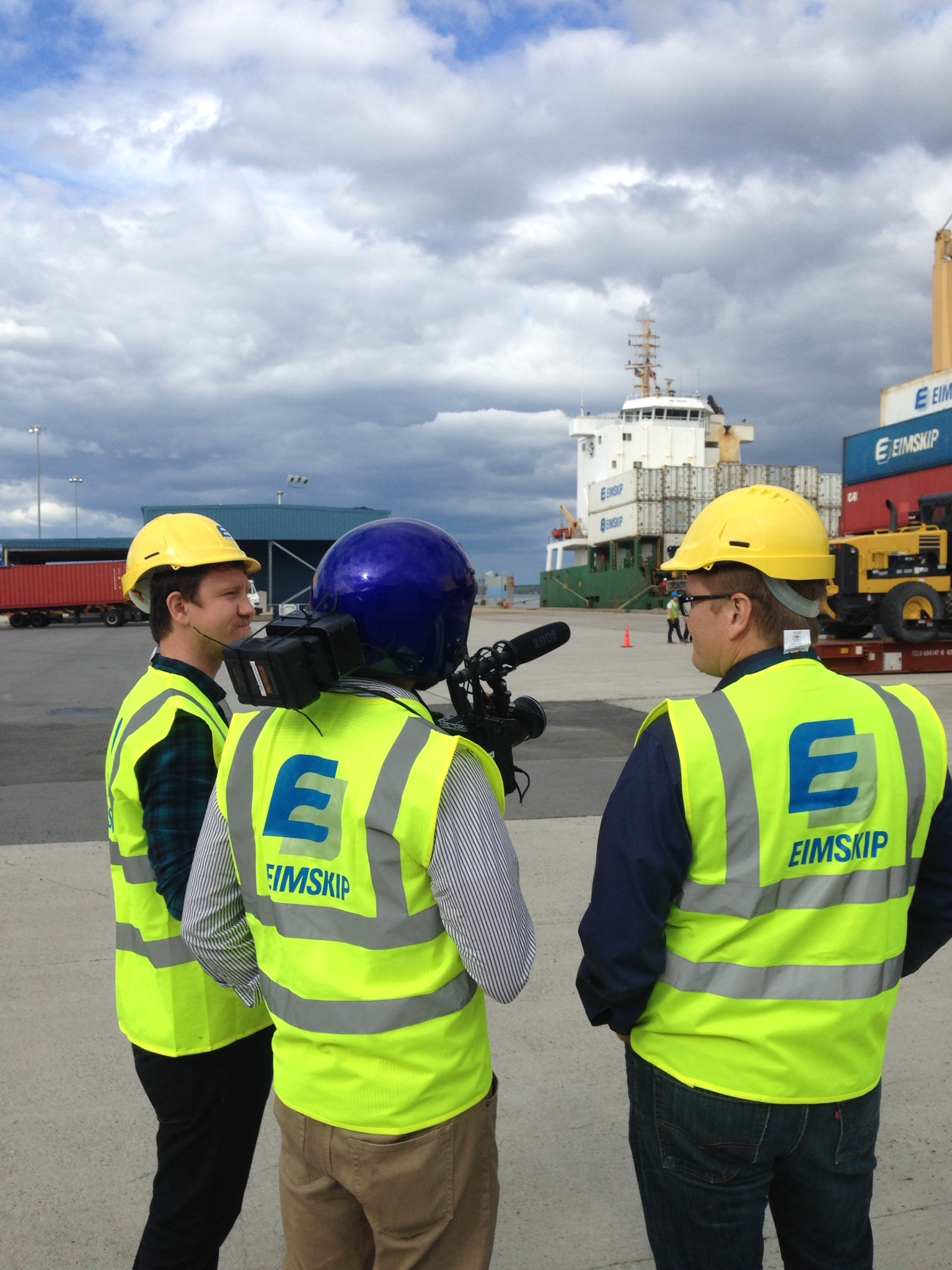 Me, CJ and our guide at EIMSKIP shipping dock.